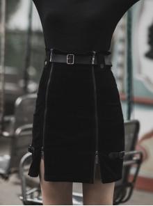 Steam Punk Female Metal Zipper PU Leather Belt Skirt