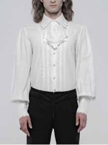 Bow Tie Front Pearls Button Lantern Sleeve White Gothic Cotton Woven Shirt