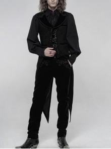 Front Button Splice Jacquard Swallowtail Hem Black Gothic Striped Velvet Mid-Length Vest