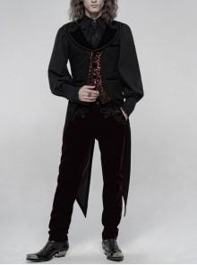 Front Button Splice Red Jacquard Swallowtail Hem Black Gothic Striped Velvet Mid-Length Vest
