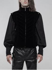 High Collar Front Zipper Back Waist Metal Hasp Black Gothic Weft Velvet Vest