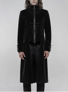 High Collar Front Chest Embroidery Long Sleeve Button Cuff Black Gothic Jacquard Coat