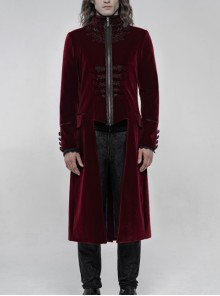 High Collar Front Chest Embroidery Long Sleeve Button Cuff Wine Red Gothic Jacquard Coat