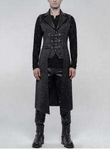 Shoulder Rivet Leather Loop Front Metal Hasp Black Punk Jacquard Vest