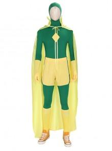 Wanda Vision Vision Green Bodysuit Yellow Cloak Halloween Cosplay Costume Set