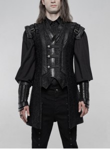 Small Fly Shoulder Front Chest Metal Retro Button Black Punk Three-Dimensional Jacquard Waistcoat