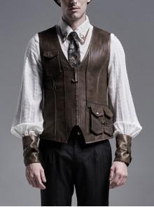 Front Metal Pendant Zipper Side Pocket Brown Punk Cracked Leather Vest