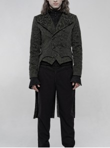 Stand-Up Collar Front Chest Button Long Sleeve Slit Dovetail Hem Black Gothic Retro Jacquard Jacket