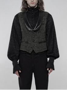 Front Button Back Waist Metal Leather Hasp Black Gothic Jacquard Vest