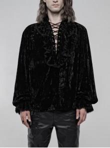 V-Neck Lace-Up Front Chest Frill Lantern Sleeve Lace Cuff Black Gothic Velvet Shirt