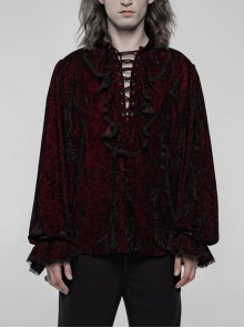 V-Neck Lace-Up Front Chest Frill Lantern Sleeve Lace Cuff Wine Red Gothic Velvet Shirt