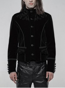High Collar Front Chest Embroidery Metal Retro Button Long Sleeve Black Gothic Velveteen Jacket