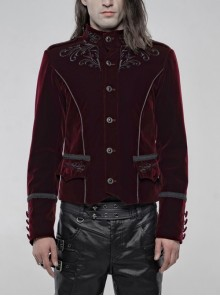 High Collar Front Chest Embroidery Metal Retro Button Long Sleeve Wine Red Gothic Velveteen Jacket