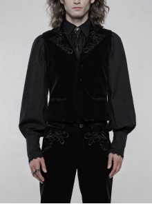Embroidery Collar Front Button Back Waist Metal Hasp Black Gothic Velveteen Vest