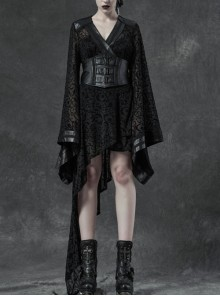 V-Neck Leather Belt Flare Sleeve Embroidery Cuff Asymmetrical Ham Black Gothic Flocking Net Dress