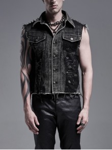 Shoulder Metal Rivet Front Embroidery Patch Lace-Up Black Punk Burrs Twill Denim Vest