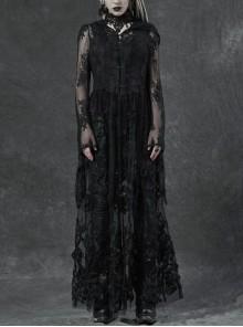 Black Gothic Bat Sleeve Back Waist Lace-Up Bead Piece Embroidery Hem Lace Long Dress