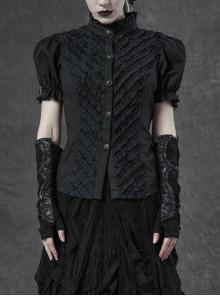 High Collar Front Little Flounces Pleated Metal Retro Button Bubble Sleeve Back Waist Lace-Up Black Punk Blouse