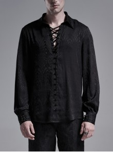 Black Front Metal Eyelets Lace-Up Long Sleeve Metal Carving Buckle Cuff Gothic Jacquard Shirt