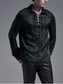 Blackish Green Front Metal Eyelets Lace-Up Long Sleeve Metal Carving Buckle Cuff Gothic Jacquard Shirt