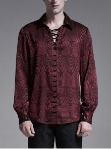 Wine Red Front Metal Eyelets Lace-Up Long Sleeve Metal Carving Buckle Cuff Gothic Jacquard Shirt