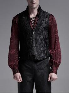 Front Chest Ribbon Metal Zipper Black Gothic Jacquard Vest