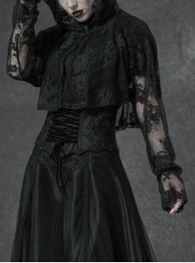 Black Metal Buckle Long Sleeve Thorn Lace Webbing Cuff Gothic Lace Short Coat