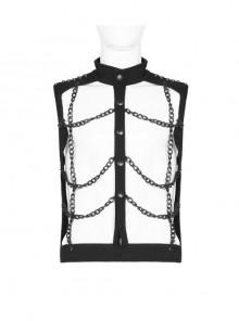 Black Metal Rivet Decoration Punk Metal Chain Hollow-Out Vest