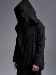 Metal D-Buckle Eyelets Strap Slit Cuff Black Punk Print Hooded Coat