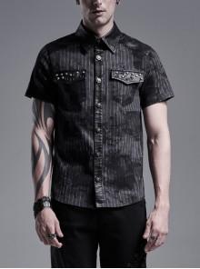 Front Metal Nail Decoration Short Sleeve Black Punk Striped Printed Shirt