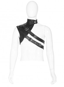 High Collar Metal Buckle Strap Rivet Black Punk One-Shoulder Cracked PU Leather Armor Accessory