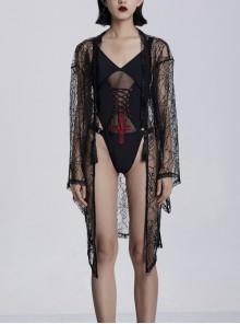Front Lace Decoration Flare Sleeve Black Gothic Cobweb Pattern Mesh Coat