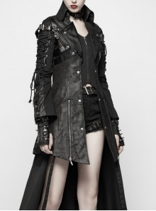 Stand-Up Metal Button Lace-Up Hot Rubber Sleeve Black Punk Leather Women Windbreaker