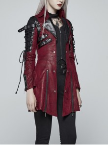 Stand-Up Metal Button Lace-Up Hot Rubber Sleeve Red Punk Leather Women Windbreaker