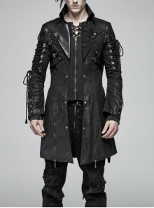 Stand-Up Metal Button Lace-Up Hot Rubber Sleeve Black Punk Leather Men Windbreaker