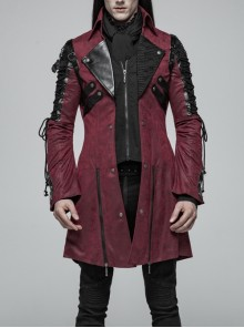 Stand-Up Metal Button Lace-Up Hot Rubber Sleeve Red Punk Leather Men Windbreaker