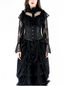 Lolita High Collar Front Chest Frill Long Sleeve Flounce Cuff Black Gothic Lace Blouse