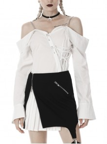 Off-Shoulder Front Chest Irregular Lace-Up Metal Pin Decoration Flare Sleeve White Punk Blouse