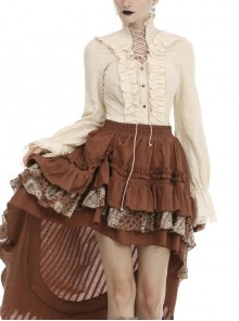 High Collar Front Chest Hollow-Out Lace-Up Frill Metal Retro Button Long Sleeve Lace Cuff White Punk Blouse