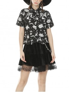 Front Metal Button Short Sleeve Black And White Punk Print Blouse