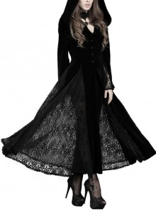V-Neck Front Button Flare Sleeve Lace Cuff Black Gothic Velvet Long Dress