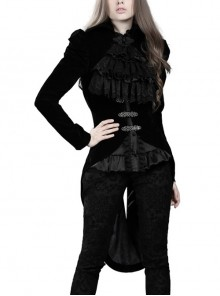 Stand-Up Collar Front Buckle Splice Lace Mesh Long Sleeve Black Gothic Gowns Blouse