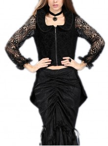 Front Metal Zipper Lace Long Sleeve Dovetail Hem Black Gothic Jacquard Jacket