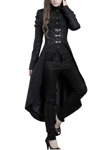 High Collar Front Chest Splice Lace Mesh Metal Buckle Long Sleeve Dovetail Hem Black Gothic Gown Blouse