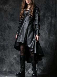Front Button Long Sleeve Metal Eyelets Cap Dovetail Hem Black Gothic Leather Jacket