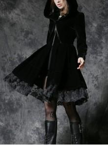 Front Skull Decoration Metal Zipper Long Sleeve Pleated Lace Hem Black Gothic Hooded Velvet Dress
