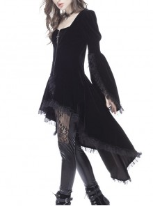 Square Collar Front Metal Cross Pendant Zipper Slit Long Sleeve Pleated Lace Hem Black Gothic Dress