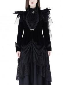 Woven Collar Swallow Shoulder Metal Buckle Long Sleeve Black Gothic Velvet Blouse