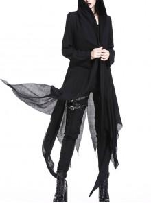 Black Long Sleeve Burr Cuff Irregular Splice Mesh Hem Punk Hooded Long Coat
