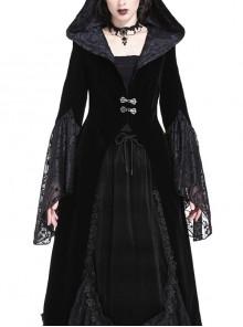 Large V-Neck Front Metal Buckle Flare Sleeve Lace Cuff Back Waist Lace-Up Black Gothic Hooded Velvet Jacket